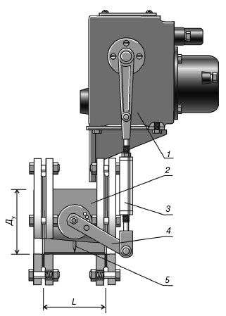 Заслонка дроссельная газовая с электроприводом для ГРП Ду 100